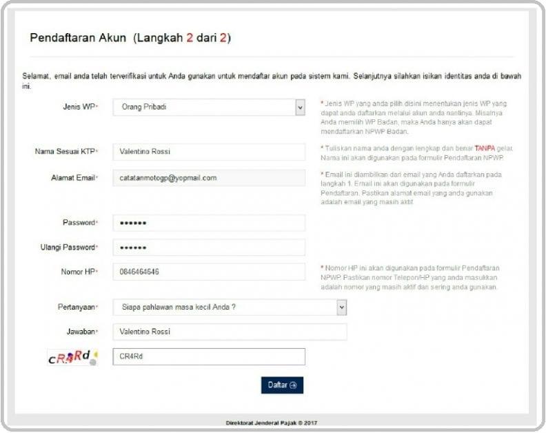 Cara Membuat NPWP Online, Cara Daftar NPWP Online dan cara bikin NPWP online